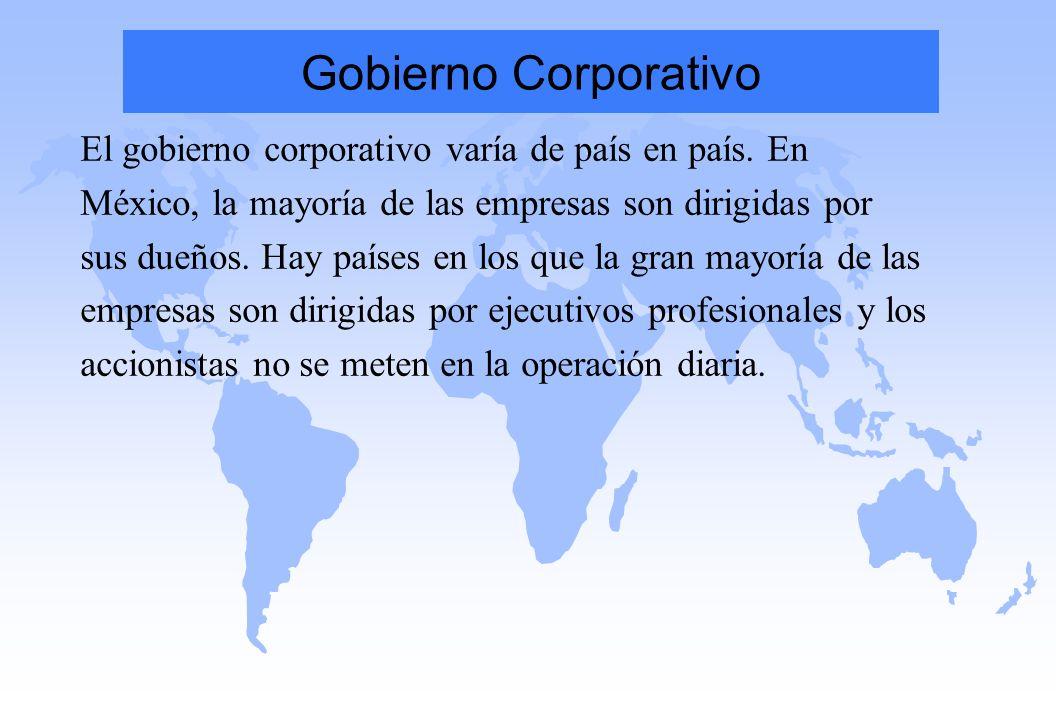 Gobierno Corporativo El gobierno corporativo varía de país en país. En México, la mayoría de las empresas son dirigidas por sus dueños. Hay países en