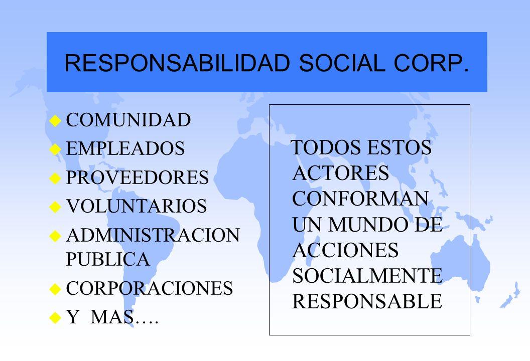 u COMUNIDAD u EMPLEADOS u PROVEEDORES u VOLUNTARIOS u ADMINISTRACION PUBLICA u CORPORACIONES u Y MAS…. TODOS ESTOS ACTORES CONFORMAN UN MUNDO DE ACCIO