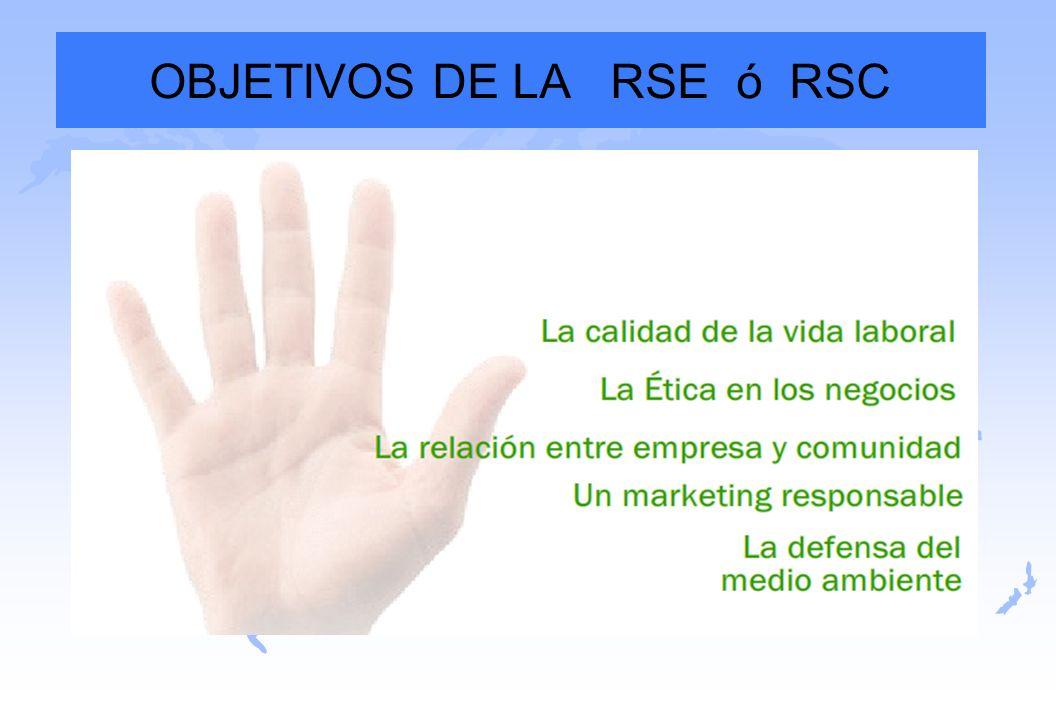 OBJETIVOS DE LA RSE ó RSC