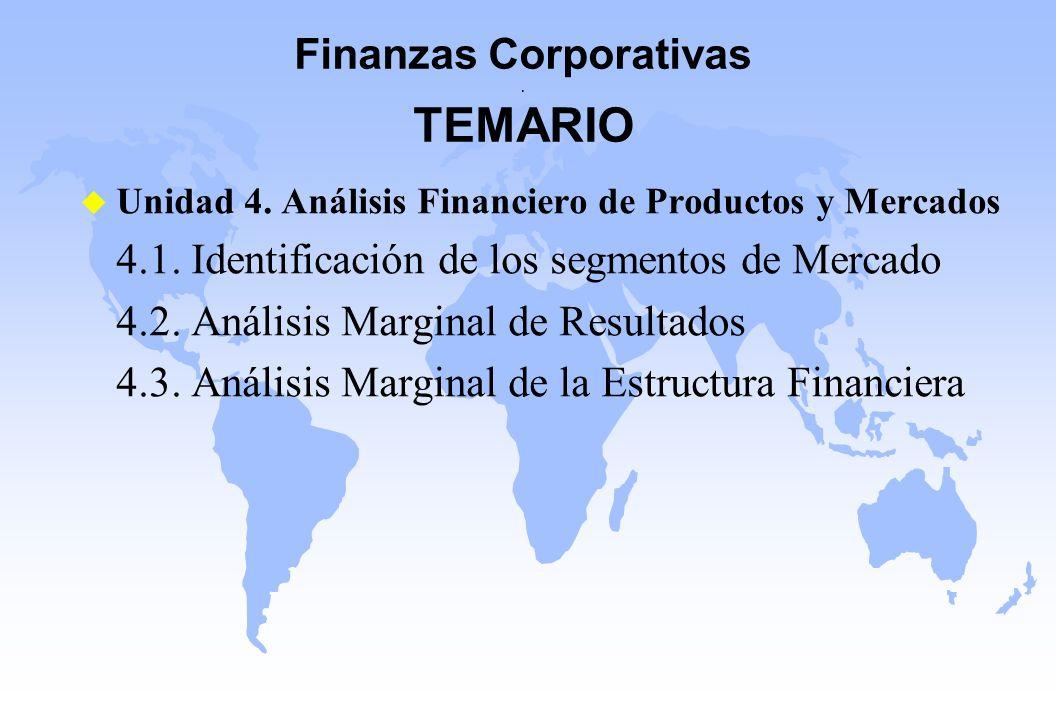 Finanzas Corporativas. TEMARIO u Unidad 4. Análisis Financiero de Productos y Mercados 4.1. Identificación de los segmentos de Mercado 4.2. Análisis M
