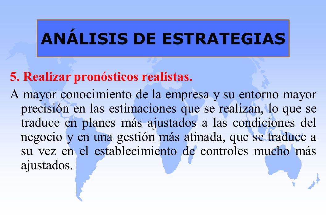 ANÁLISIS DE ESTRATEGIAS 5. Realizar pronósticos realistas. A mayor conocimiento de la empresa y su entorno mayor precisión en las estimaciones que se