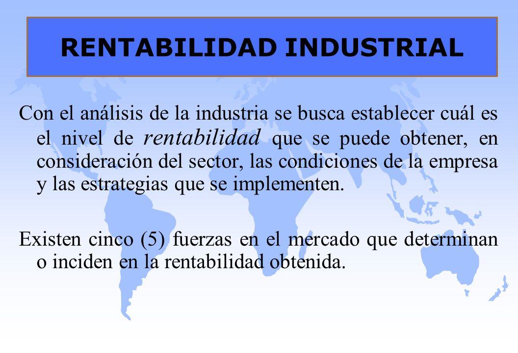 RENTABILIDAD INDUSTRIAL Con el análisis de la industria se busca establecer cuál es el nivel de rentabilidad que se puede obtener, en consideración de
