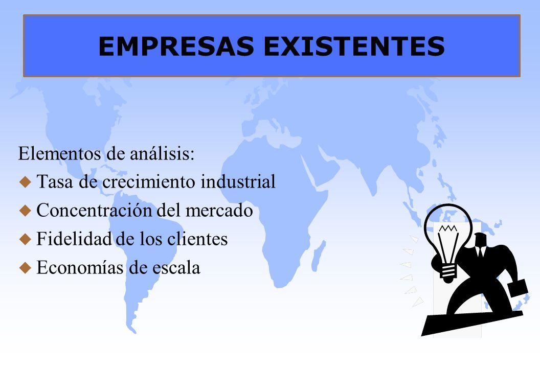 EMPRESAS EXISTENTES Elementos de análisis: u Tasa de crecimiento industrial u Concentración del mercado u Fidelidad de los clientes u Economías de esc