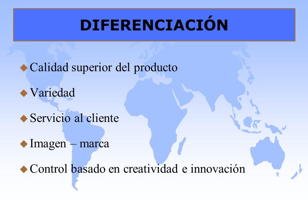 DIFERENCIACIÓN u Calidad superior del producto u Variedad u Servicio al cliente u Imagen – marca u Control basado en creatividad e innovación