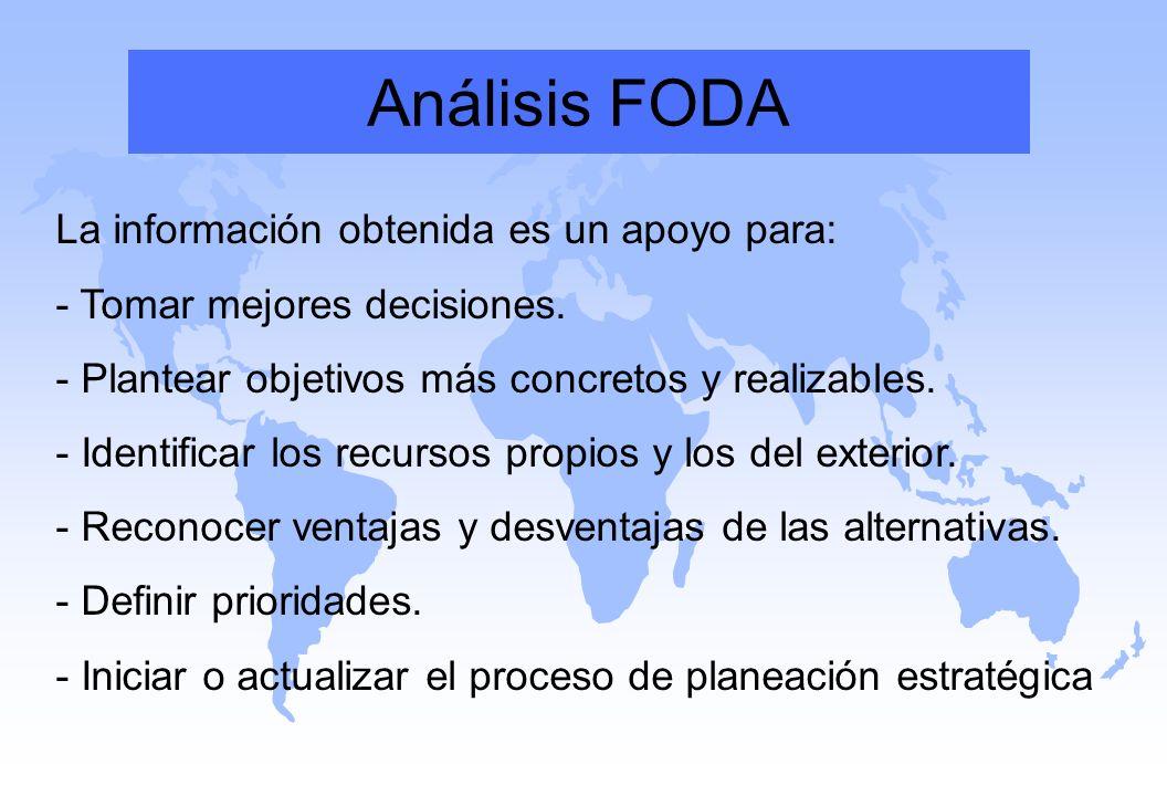 Análisis FODA La información obtenida es un apoyo para: - Tomar mejores decisiones. - Plantear objetivos más concretos y realizables. - Identificar lo