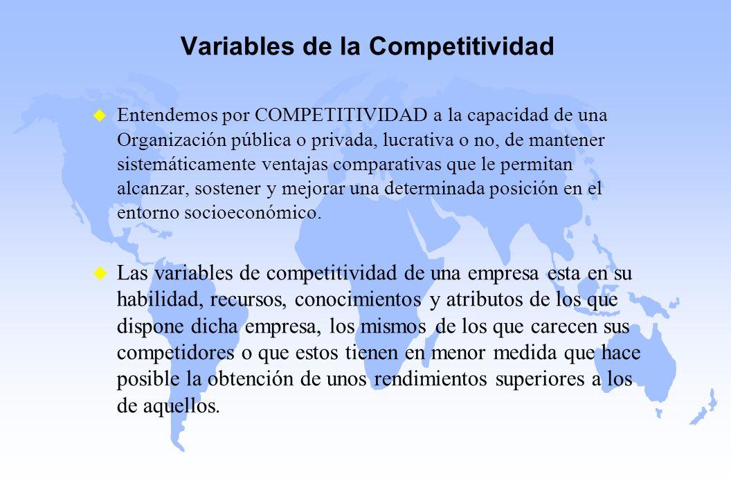 Variables de la Competitividad u Entendemos por COMPETITIVIDAD a la capacidad de una Organización pública o privada, lucrativa o no, de mantener siste