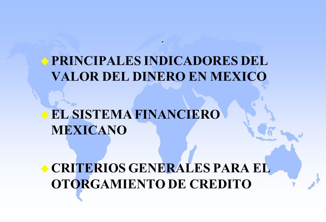. u PRINCIPALES INDICADORES DEL VALOR DEL DINERO EN MEXICO u EL SISTEMA FINANCIERO MEXICANO u CRITERIOS GENERALES PARA EL OTORGAMIENTO DE CREDITO