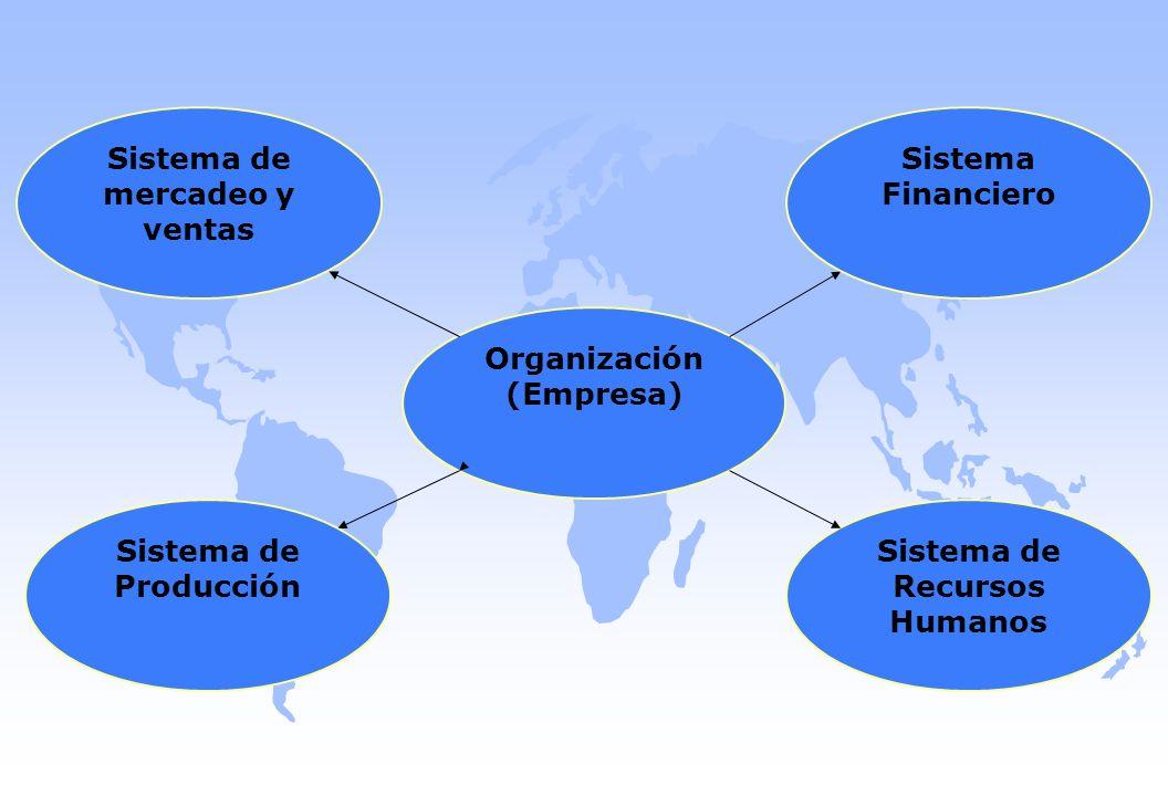 Sistema de mercadeo y ventas Organización (Empresa) Sistema de Producción Sistema de Recursos Humanos Sistema Financiero