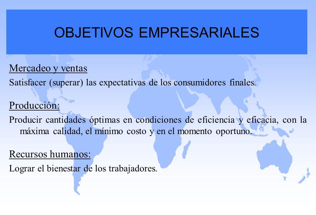 Mercadeo y ventas: Satisfacer (superar) las expectativas de los consumidores finales. Producción: Producir cantidades óptimas en condiciones de eficie
