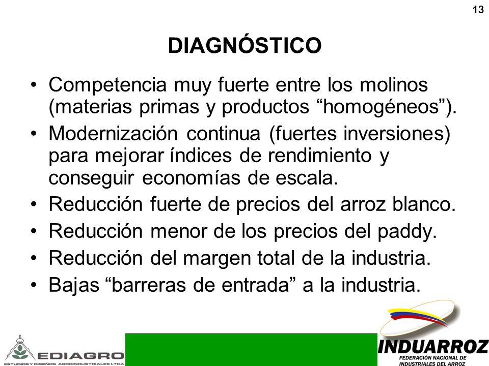 13 DIAGNÓSTICO Competencia muy fuerte entre los molinos (materias primas y productos homogéneos). Modernización continua (fuertes inversiones) para me