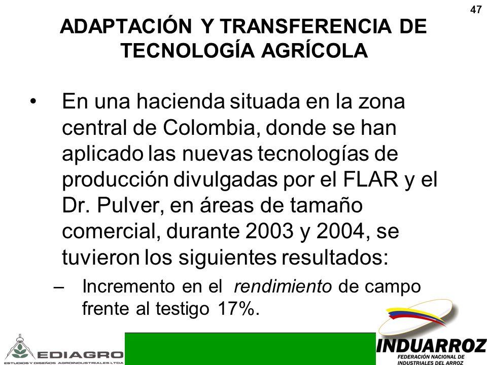 47 ADAPTACIÓN Y TRANSFERENCIA DE TECNOLOGÍA AGRÍCOLA En una hacienda situada en la zona central de Colombia, donde se han aplicado las nuevas tecnolog