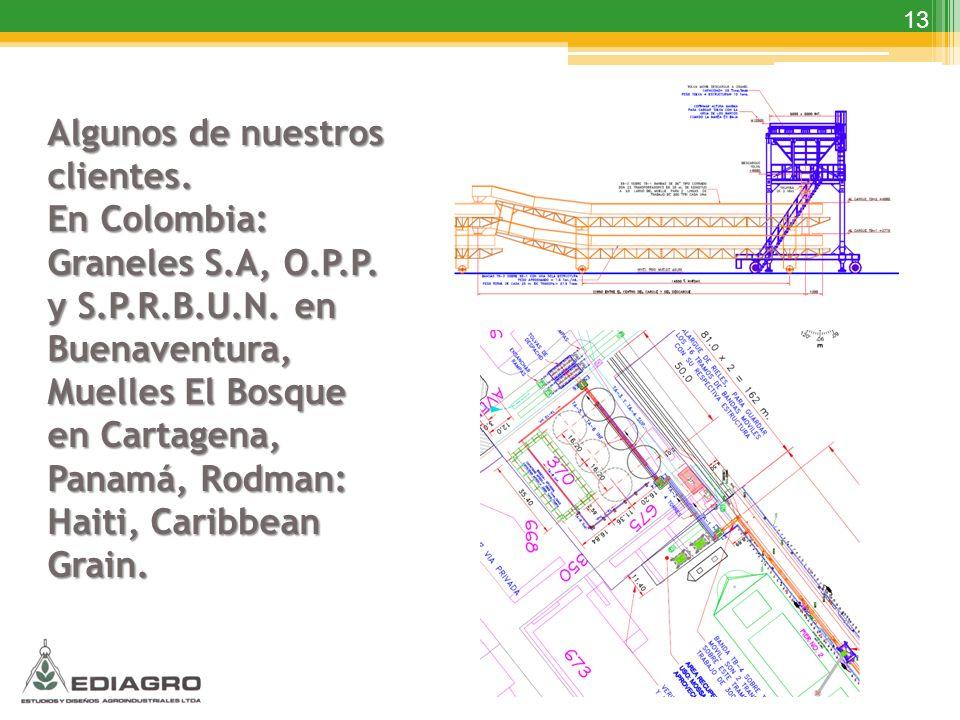13 Algunos de nuestros clientes. En Colombia: Graneles S.A, O.P.P. y S.P.R.B.U.N. en Buenaventura, Muelles El Bosque en Cartagena, Panamá, Rodman: Hai