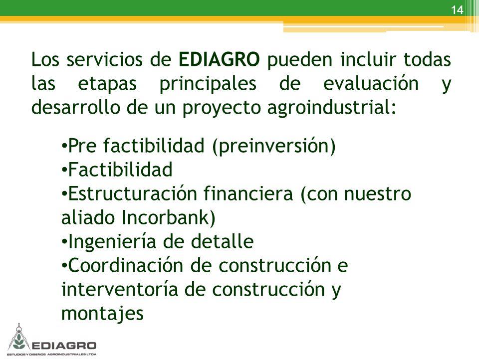 14 Los servicios de EDIAGRO pueden incluir todas las etapas principales de evaluación y desarrollo de un proyecto agroindustrial: Pre factibilidad (pr