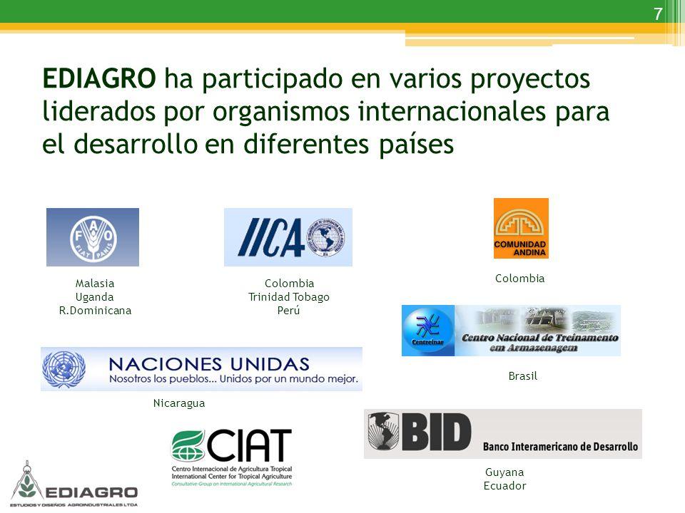7 Malasia Uganda R.Dominicana Colombia Trinidad Tobago Perú Colombia Nicaragua Guyana Ecuador Brasil EDIAGRO ha participado en varios proyectos lidera