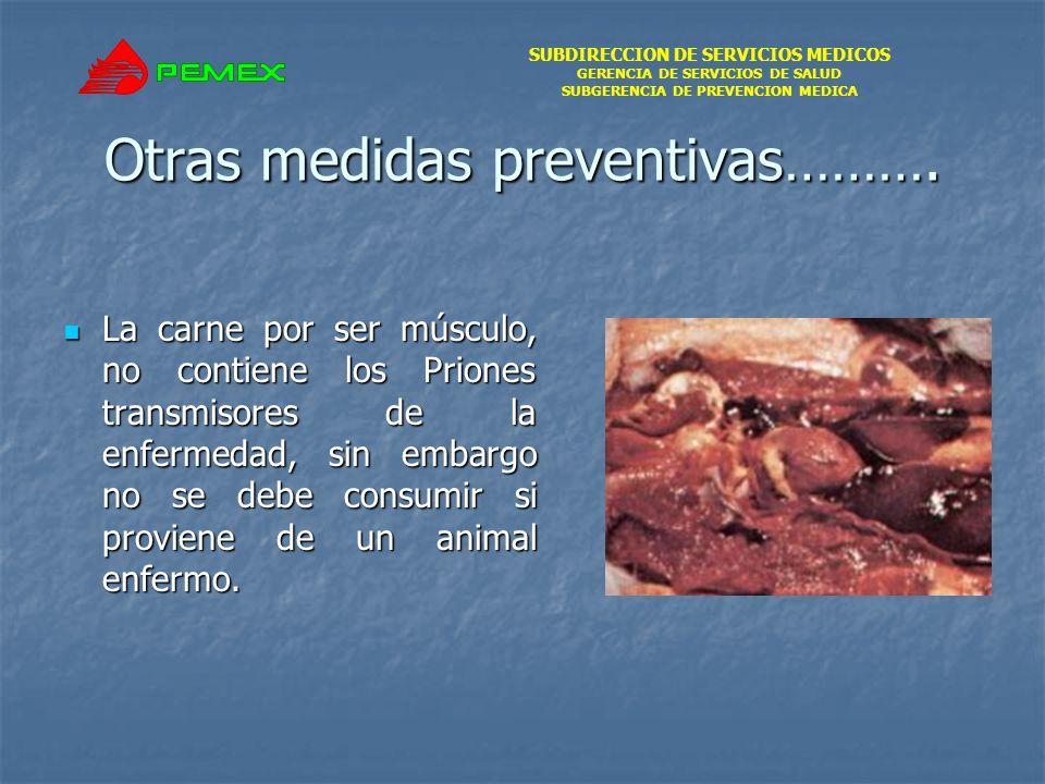 SUBDIRECCION DE SERVICIOS MEDICOS GERENCIA DE SERVICIOS DE SALUD SUBGERENCIA DE PREVENCION MEDICA Otras medidas preventivas………. La carne por ser múscu