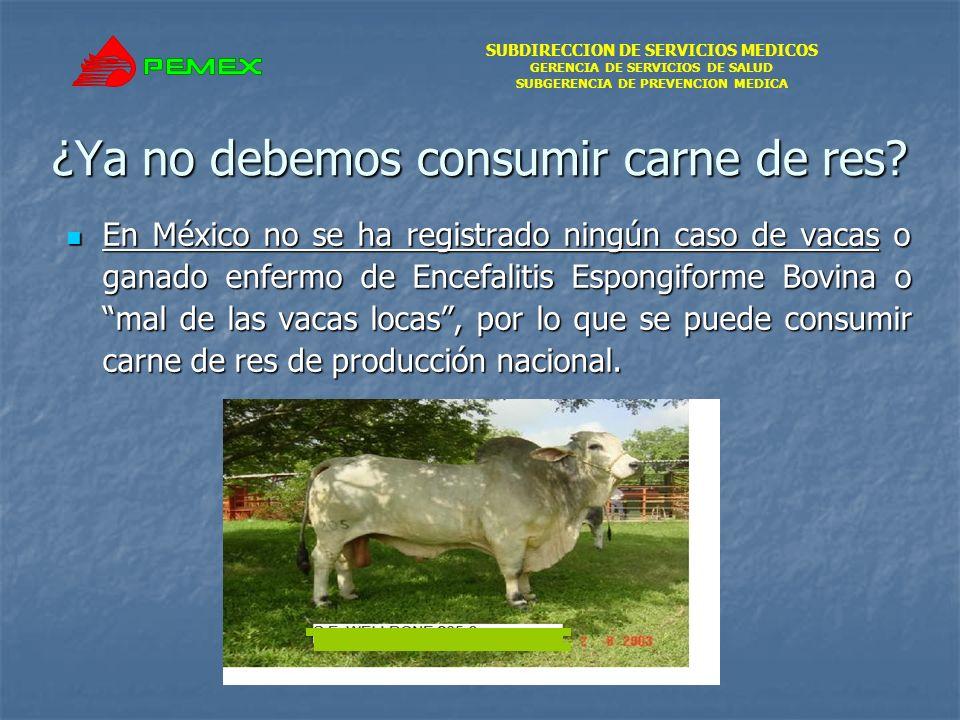 SUBDIRECCION DE SERVICIOS MEDICOS GERENCIA DE SERVICIOS DE SALUD SUBGERENCIA DE PREVENCION MEDICA ¿Ya no debemos consumir carne de res? En México no s