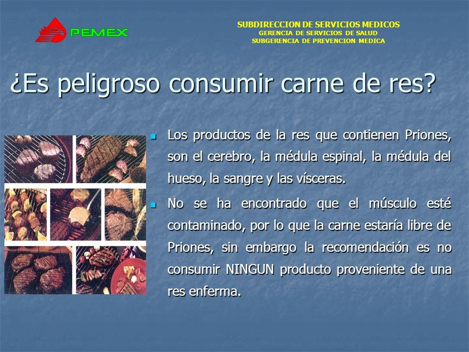 SUBDIRECCION DE SERVICIOS MEDICOS GERENCIA DE SERVICIOS DE SALUD SUBGERENCIA DE PREVENCION MEDICA ¿Es peligroso consumir carne de res? Los productos d
