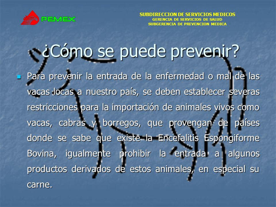 SUBDIRECCION DE SERVICIOS MEDICOS GERENCIA DE SERVICIOS DE SALUD SUBGERENCIA DE PREVENCION MEDICA ¿Cómo se puede prevenir? Para prevenir la entrada de