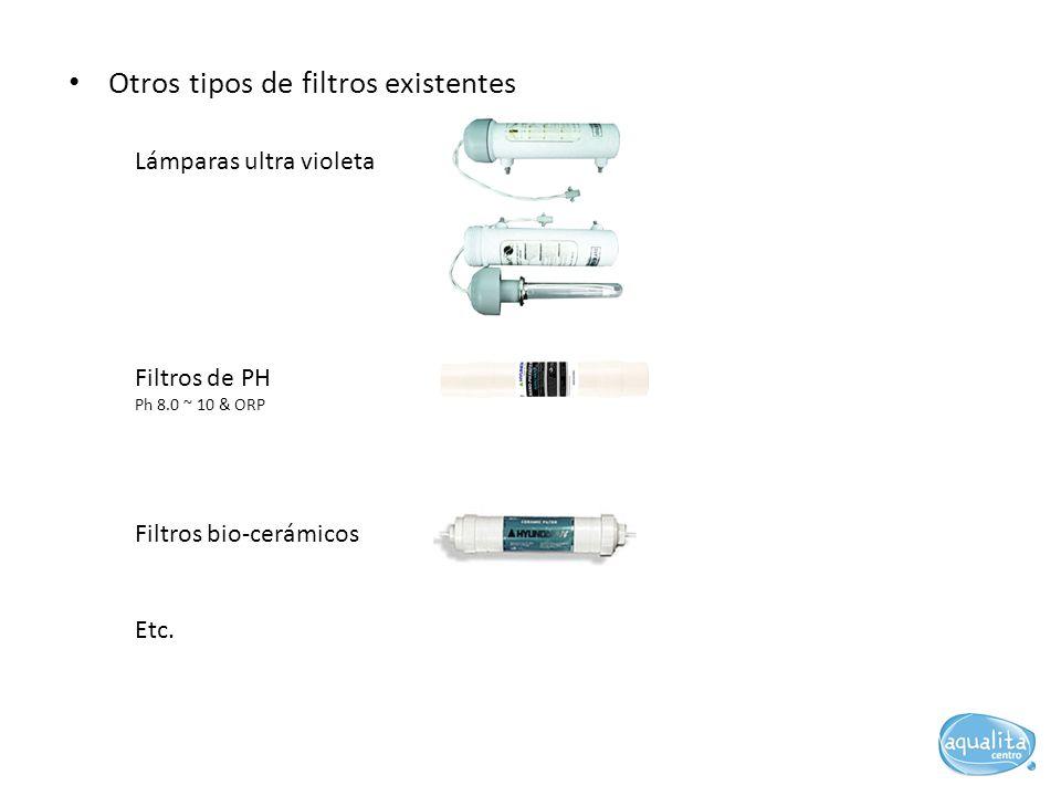 Lámparas ultra violeta Otros tipos de filtros existentes Filtros de PH Ph 8.0 ~ 10 & ORP Filtros bio-cerámicos Etc.