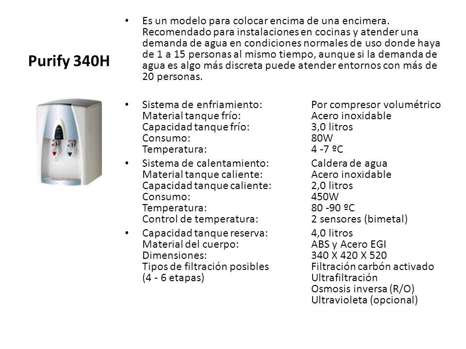 Purify 340H Es un modelo para colocar encima de una encimera. Recomendado para instalaciones en cocinas y atender una demanda de agua en condiciones n