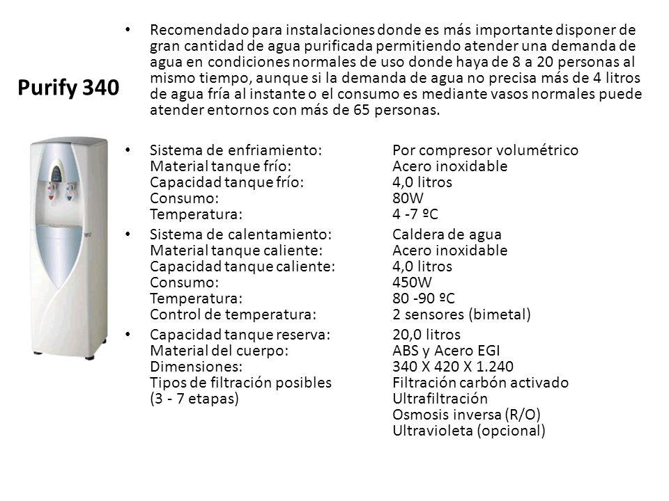 Purify 340 Recomendado para instalaciones donde es más importante disponer de gran cantidad de agua purificada permitiendo atender una demanda de agua