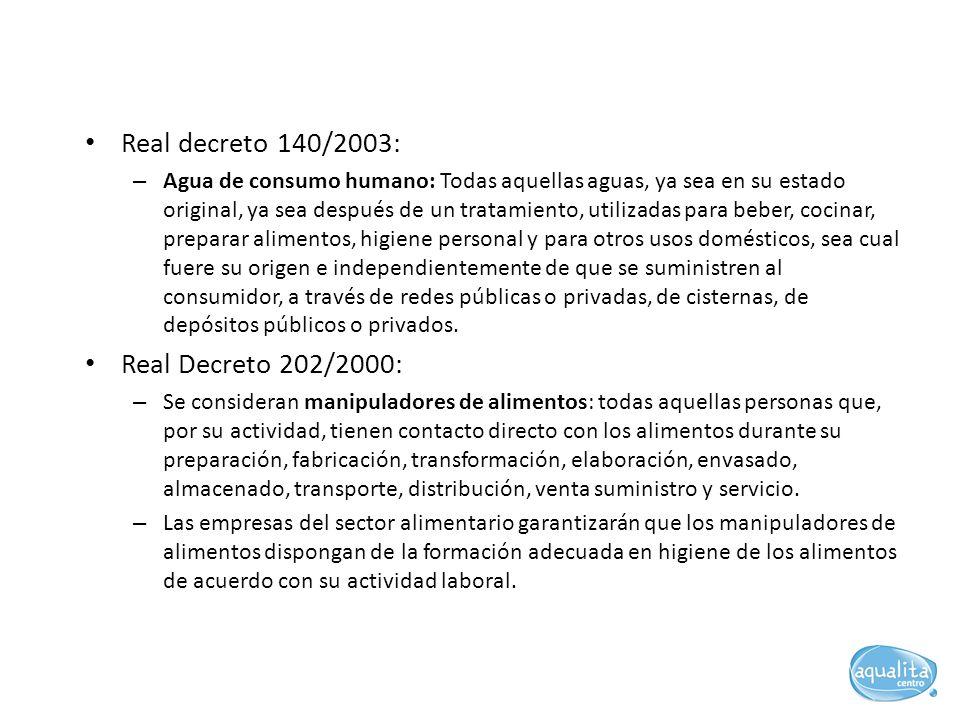 Real decreto 140/2003: – Agua de consumo humano: Todas aquellas aguas, ya sea en su estado original, ya sea después de un tratamiento, utilizadas para