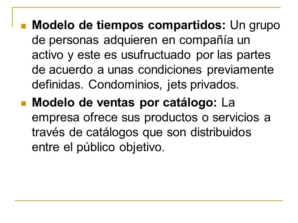 Modelo de tiempos compartidos: Un grupo de personas adquieren en compañía un activo y este es usufructuado por las partes de acuerdo a unas condiciones previamente definidas.