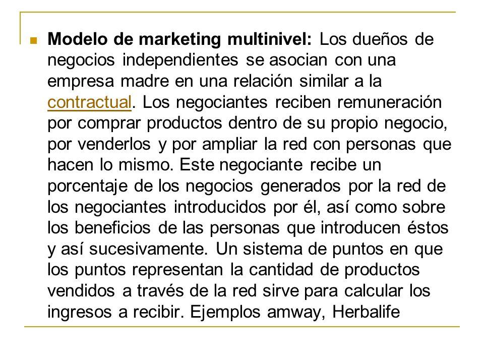 Modelo de marketing multinivel: Los dueños de negocios independientes se asocian con una empresa madre en una relación similar a la contractual. Los n