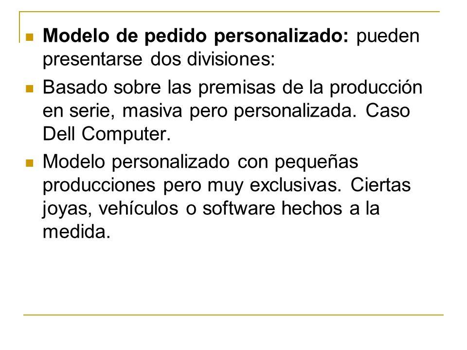 Modelo de pedido personalizado: pueden presentarse dos divisiones: Basado sobre las premisas de la producción en serie, masiva pero personalizada.