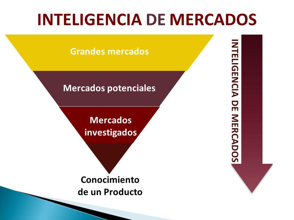 Conocimiento de un Producto Mercados investigados Mercados potenciales Grandes mercados INTELIGENCIA DE MERCADOS
