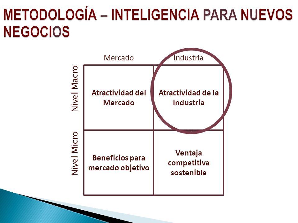 Atractividad del Mercado Ventaja competitiva sostenible Atractividad de la Industria Beneficios para mercado objetivo MercadoIndustria Nivel Macro Nivel Micro
