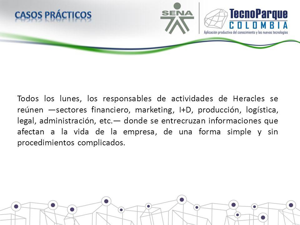 Todos los lunes, los responsables de actividades de Heracles se reúnen sectores financiero, marketing, I+D, producción, logística, legal, administraci