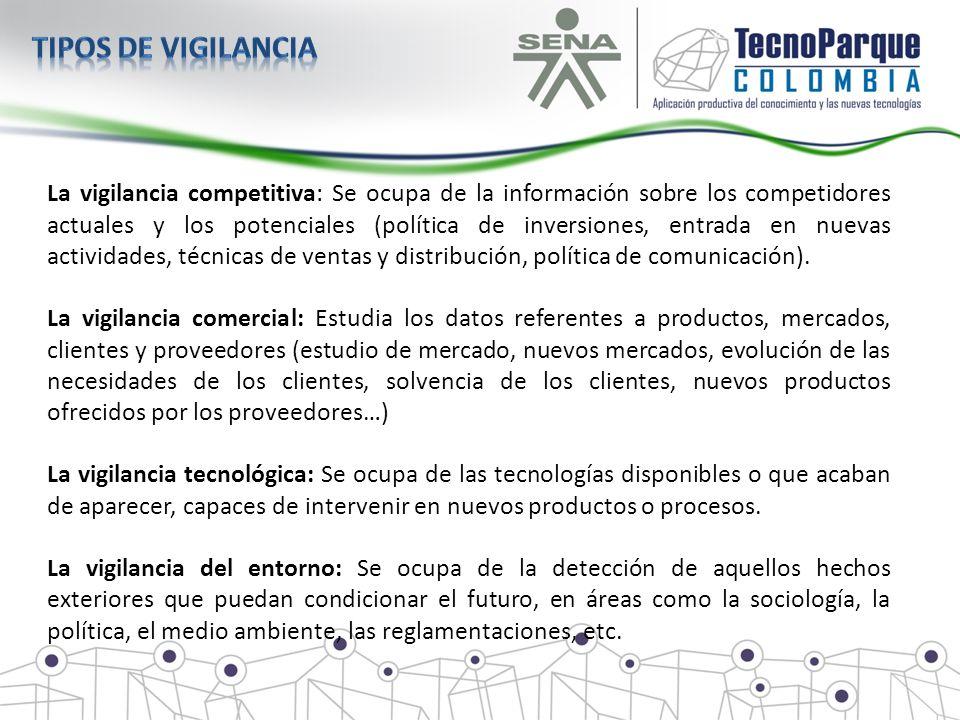 La vigilancia competitiva: Se ocupa de la información sobre los competidores actuales y los potenciales (política de inversiones, entrada en nuevas ac