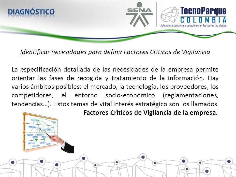 Identificar necesidades para definir Factores Críticos de Vigilancia La especificación detallada de las necesidades de la empresa permite orientar las