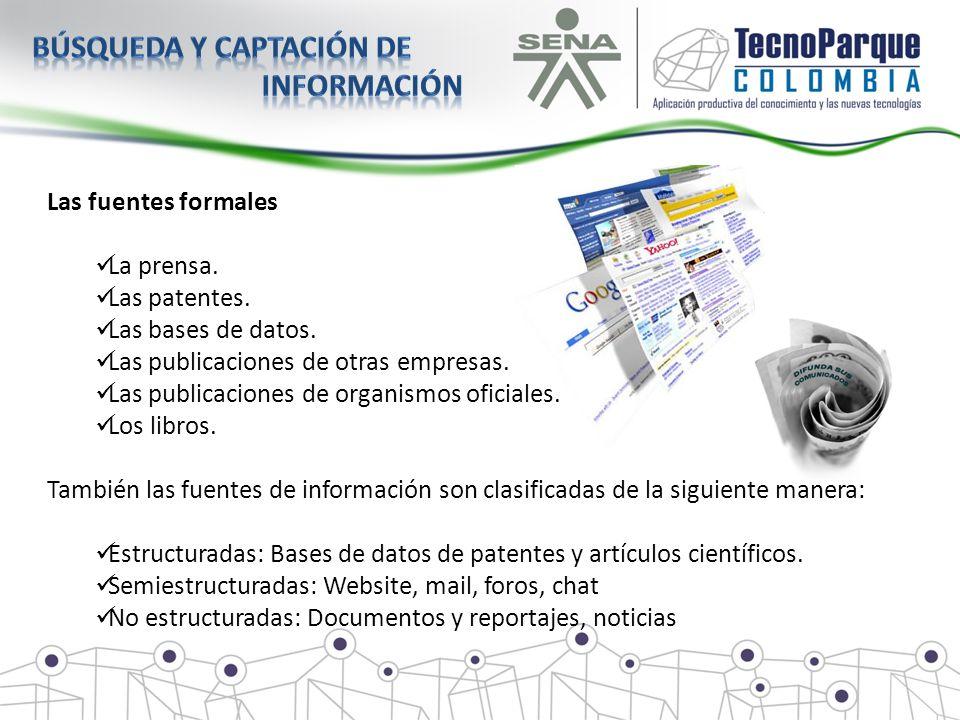 Las fuentes formales La prensa. Las patentes. Las bases de datos. Las publicaciones de otras empresas. Las publicaciones de organismos oficiales. Los