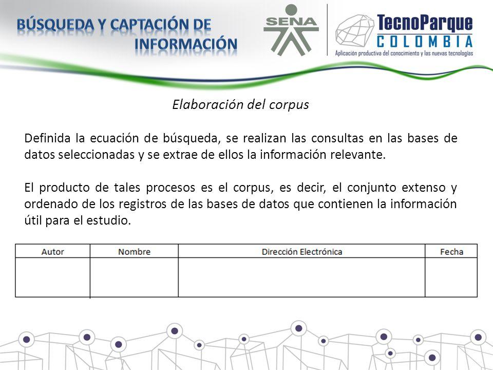 Elaboración del corpus Definida la ecuación de búsqueda, se realizan las consultas en las bases de datos seleccionadas y se extrae de ellos la informa