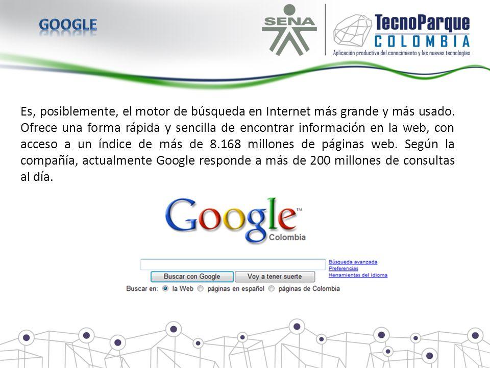 Es, posiblemente, el motor de búsqueda en Internet más grande y más usado. Ofrece una forma rápida y sencilla de encontrar información en la web, con