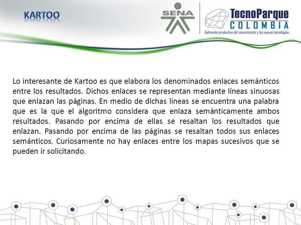 Lo interesante de Kartoo es que elabora los denominados enlaces semánticos entre los resultados. Dichos enlaces se representan mediante líneas sinuosa