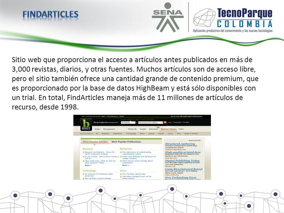 Sitio web que proporciona el acceso a artículos antes publicados en más de 3,000 revistas, diarios, y otras fuentes. Muchos artículos son de acceso li