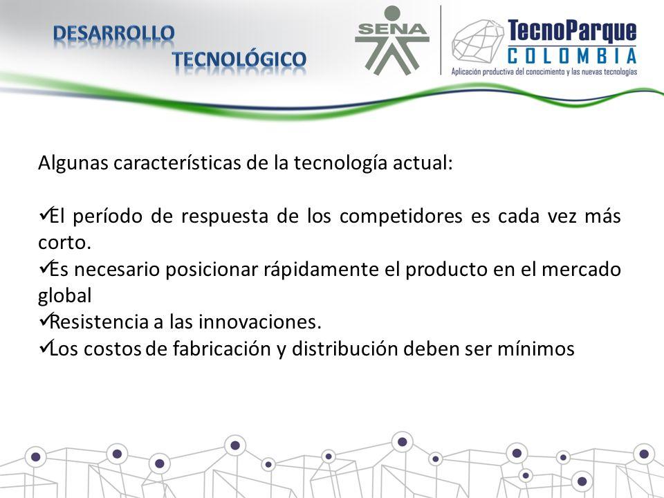 Algunas características de la tecnología actual: El período de respuesta de los competidores es cada vez más corto. Es necesario posicionar rápidament