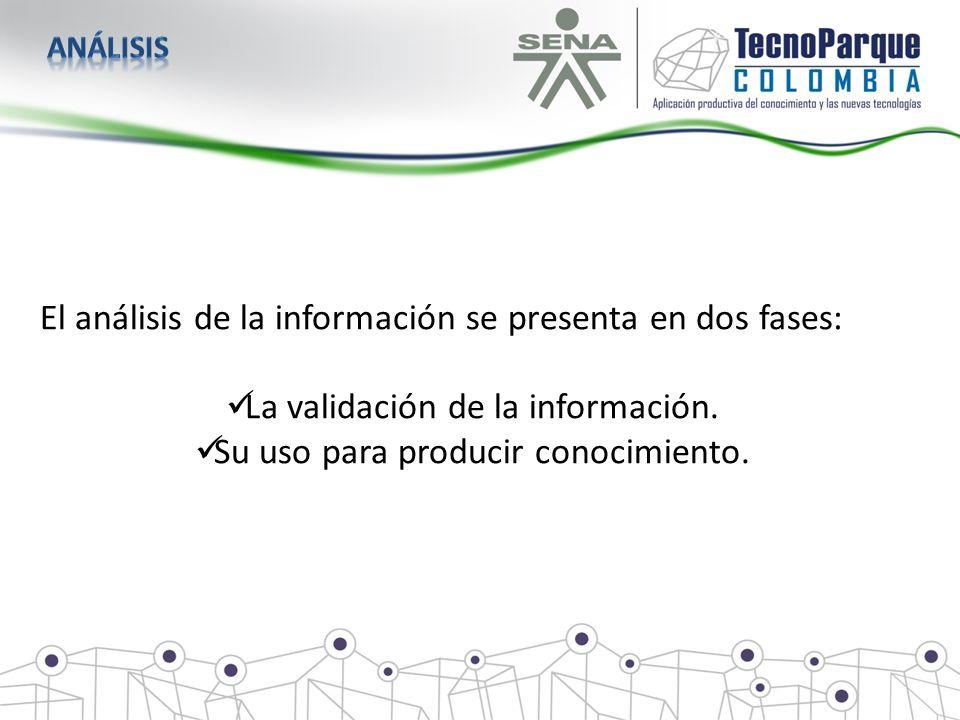 El análisis de la información se presenta en dos fases: La validación de la información. Su uso para producir conocimiento.