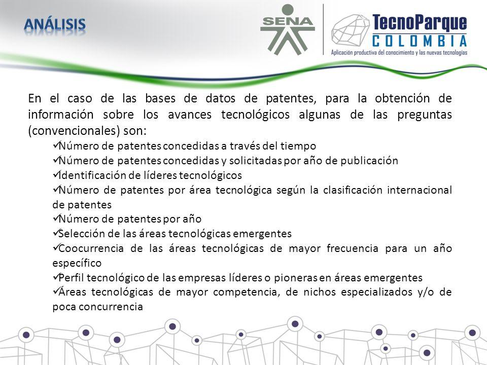 En el caso de las bases de datos de patentes, para la obtención de información sobre los avances tecnológicos algunas de las preguntas (convencionales