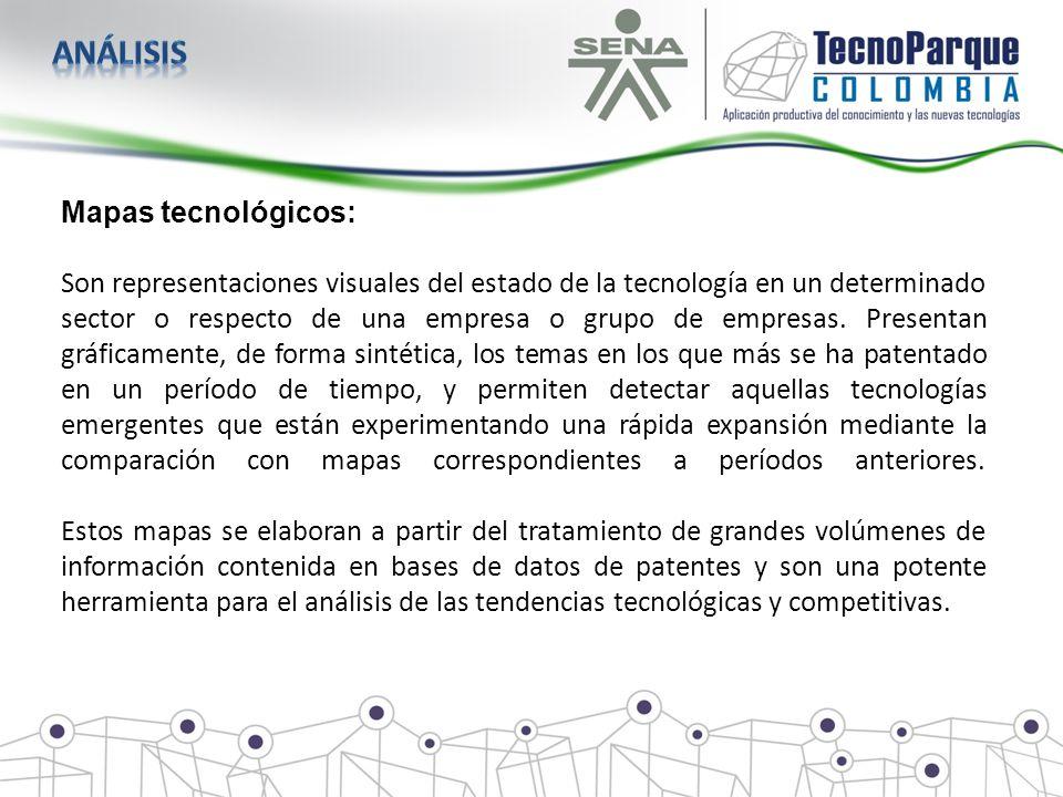 Mapas tecnológicos: Son representaciones visuales del estado de la tecnología en un determinado sector o respecto de una empresa o grupo de empresas.