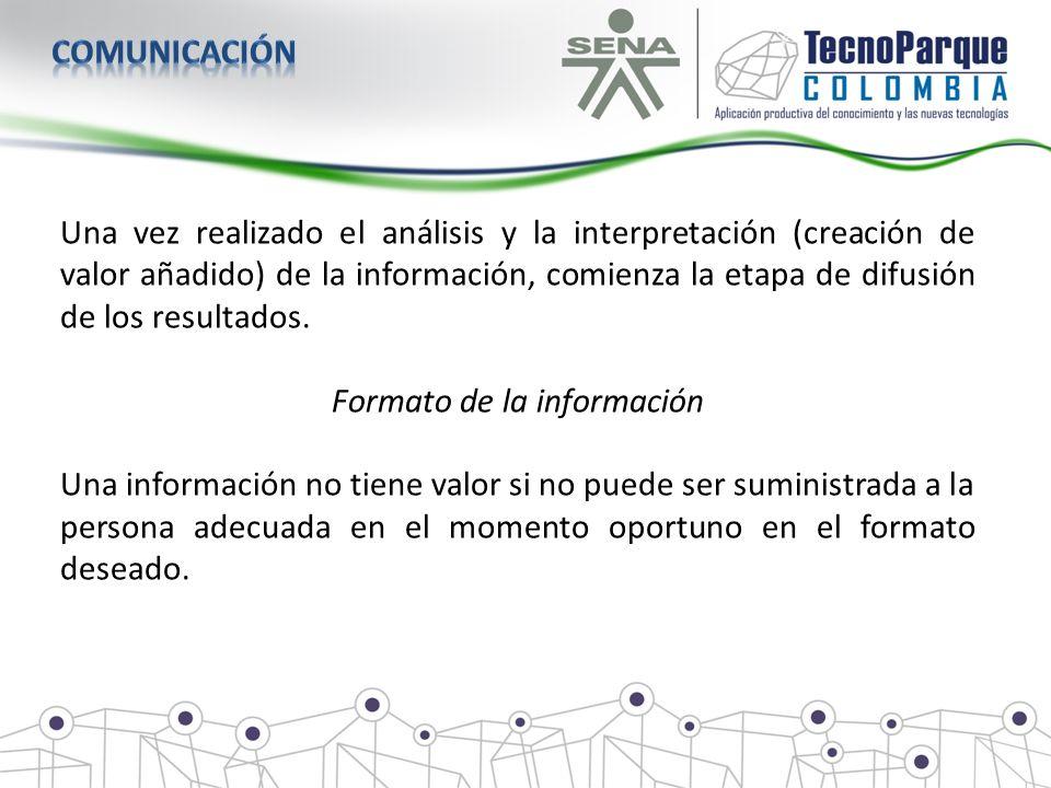 Una vez realizado el análisis y la interpretación (creación de valor añadido) de la información, comienza la etapa de difusión de los resultados. Form