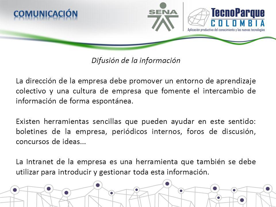 Difusión de la información La dirección de la empresa debe promover un entorno de aprendizaje colectivo y una cultura de empresa que fomente el interc