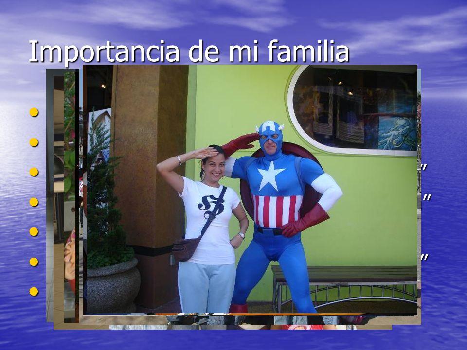 Importancia de mi familia Mi familia lo es todo Mi familia lo es todo Mi familia provee la estabilidad Mi familia provee la estabilidad Mi familia pue