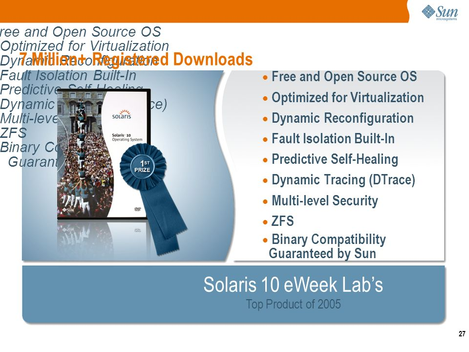 27 Free and Open Source OS Optimized for Virtualization Dynamic Reconfiguration Fault Isolation Built-In Predictive Self-Healing Dynamic Tracing (DTrace) Multi-level Security ZFS Binary Compatibility Guaranteed by Sun Free and Open Source OS Optimized for Virtualization Dynamic Reconfiguration Fault Isolation Built-In Predictive Self-Healing Dynamic Tracing (DTrace) Multi-level Security ZFS Binary Compatibility Guaranteed by Sun 7 Million+ Registered Downloads Solaris 10 eWeek Labs Top Product of 2005