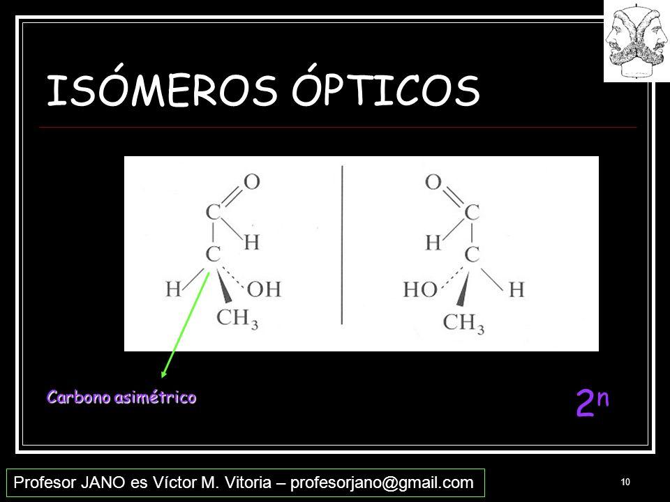 Profesor JANO es Víctor M. Vitoria – profesorjano@gmail.com 10 ISÓMEROS ÓPTICOS Carbono asimétrico 2n2n