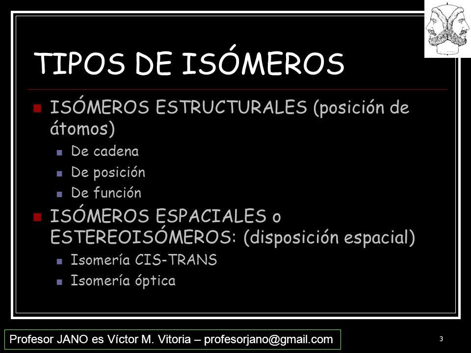 Profesor JANO es Víctor M. Vitoria – profesorjano@gmail.com 3 TIPOS DE ISÓMEROS ISÓMEROS ESTRUCTURALES (posición de átomos) De cadena De posición De f