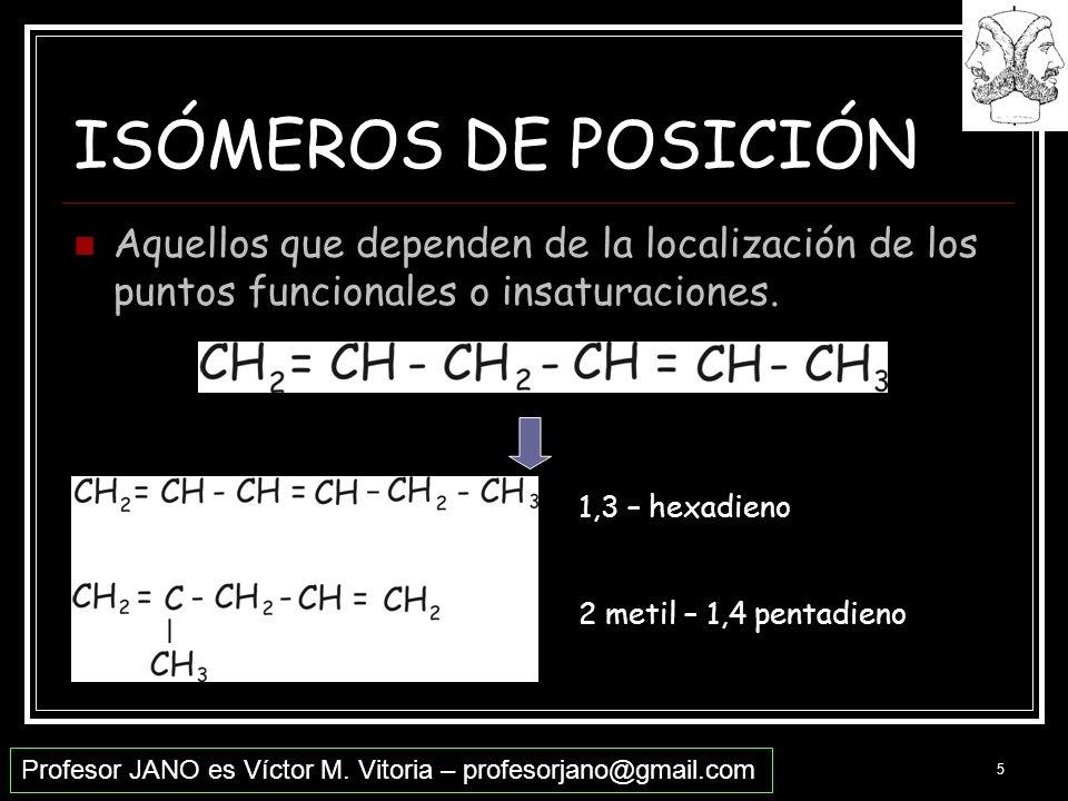 Profesor JANO es Víctor M. Vitoria – profesorjano@gmail.com 5 ISÓMEROS DE POSICIÓN Aquellos que dependen de la localización de los puntos funcionales